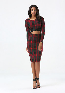 bebe Plaid Midi Skirt