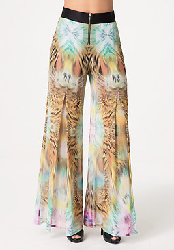 bebe Petite Sheer Wide Leg Pants