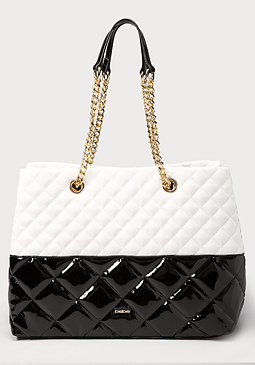 bebe Ava Patent Quilted Tote