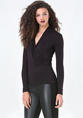 bebe Solid Jersey Surplice Top