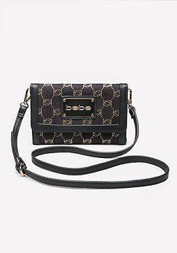 bebe Gold Jacquard Crossbody Bag