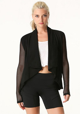 bebe Mesh Sleeve Draped Jacket