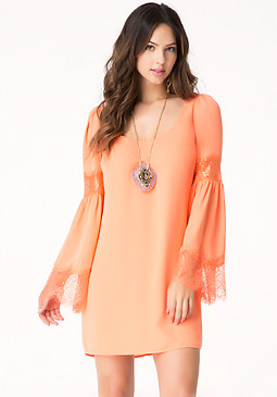 Bell Sleeve Shift Dress at bebe