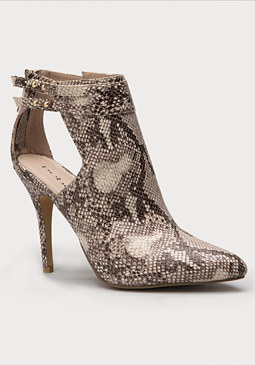 bebe Nile Python Pointy Booties