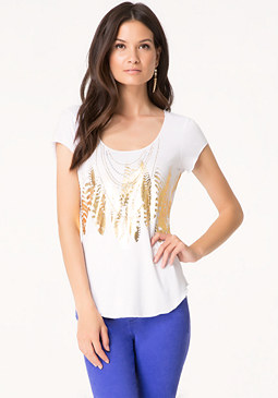 bebe Foil Feather & Necklace Tee