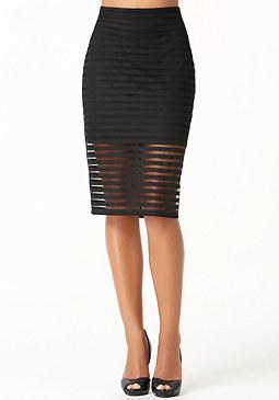 bebe Mesh Stripe Midi Skirt