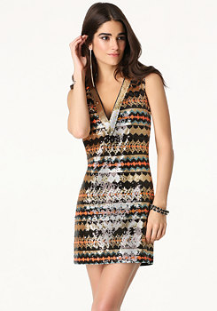bebe Plunge Neck Sequin Dress