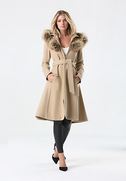 bebe Tan Wool Hooded Coat