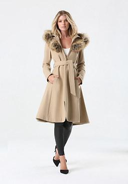 bebe Tan Wool Hooded Coat