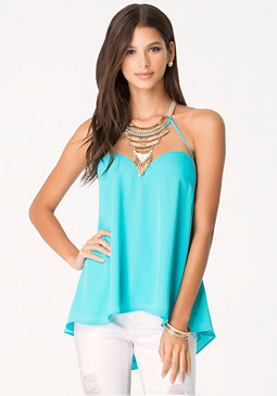 bebe Solid Feather Necklace Top