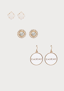 bebe Logo Earring Trio Set