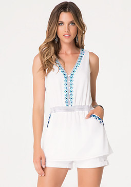 bebe Embroidered Scoopback Top