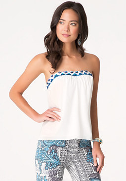 bebe Embellished Strapless Top