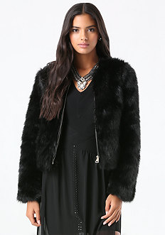 Faux Fur Evening Jacket