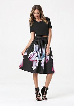 bebe Print Taffeta Midi Skirt