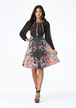 bebe Print Flared Skirt
