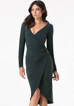 bebe Tulip Hem Surplice Dress