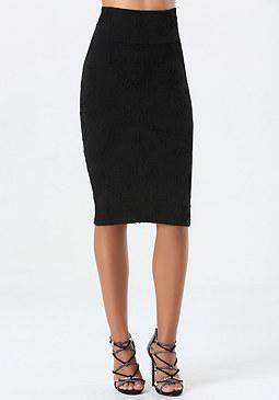 bebe Petite Jacquard Midi Skirt