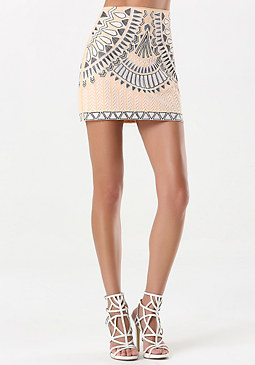 bebe Tribal Embroidered Skirt