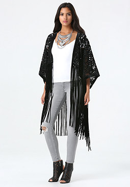 bebe Velvet Fringe Cover Up