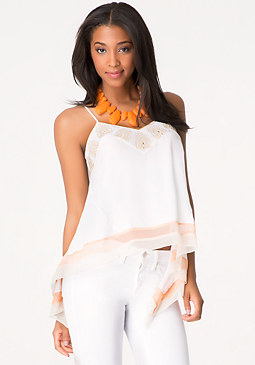 bebe Embroidered Silk Top