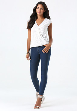 bebe High Rise Tux Skinny Jeans