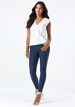 bebe High Rise Tux Skinny Jeans