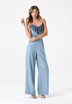 bebe Petite Embroidered Jumpsuit