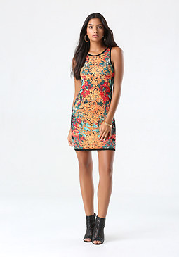 bebe Petite Print Sweater Dress