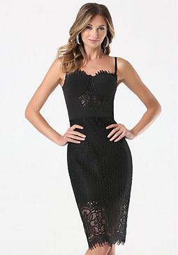 bebe Petite Strapless Midi Dress