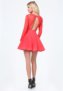 bebe Lace Backless Flared Dress