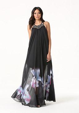 bebe Petite Print Halter Gown