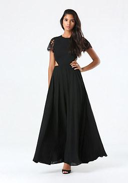 bebe Petite Lace Cutout Gown