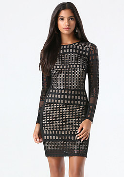 bebe Petite Geo Lace Dress