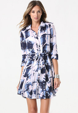 bebe Petite Plaid Shirtdress