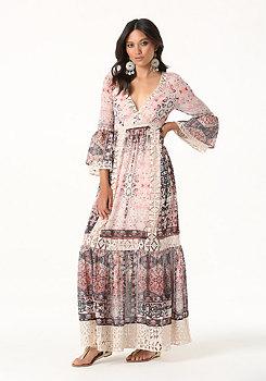 bebe Petite Lace Trim Maxi Dress