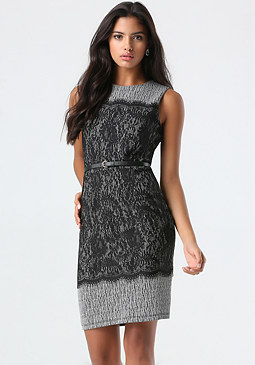 bebe Petite Lace Contrast Dress