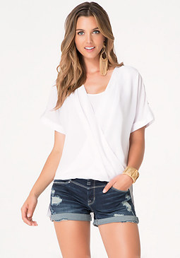 bebe Short Sleeve Wrap Top
