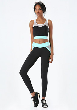 bebe Colorblock Mesh Sports Bra