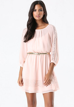 bebe Petite Lace Trim Dress