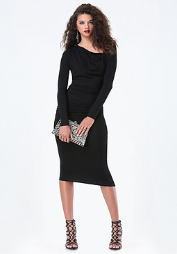 bebe Asymmetric Neck Midi Dress