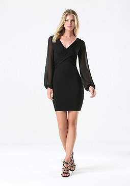 bebe Dahlia Sheer Sleeve Dress