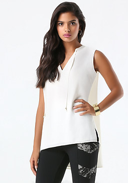 bebe Cascade Pleat Top