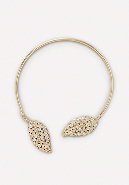bebe Metal Leaf Collar Necklace