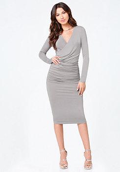 bebe Faux Wrap Midi Dress