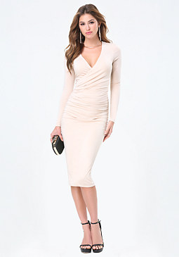 bebe Faux Wrap Midi Dress