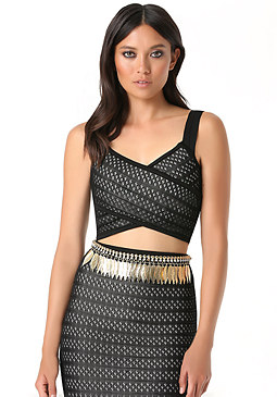 bebe Leaf Fringe Stretch Belt
