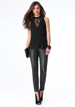 bebe Madison Lace Mock Neck Top