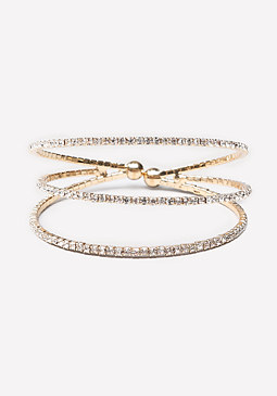 bebe Crystal Lined Triple Cuff