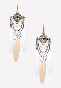 bebe Chain & Feather Earrings